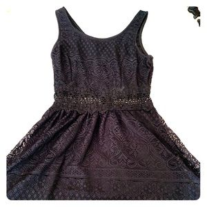 Navy blue dress with a beautiful pattern